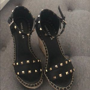 Marc Fisher black wedges with studs